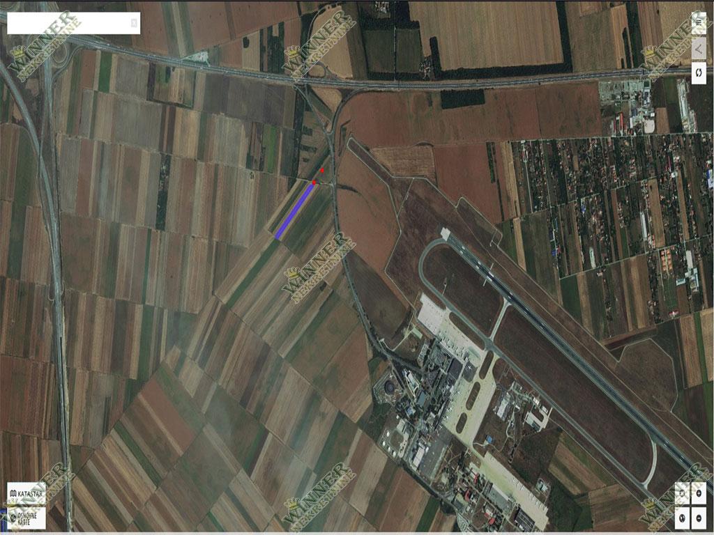 Prodaja Zemljiste Surcin Aerodrom, povrsina 64 ari, njiva 2. klase, zemljiste u gradjevinskom podrucju, dozvoljena gradnja, uknjizen, agencija winner, promet, provizija
